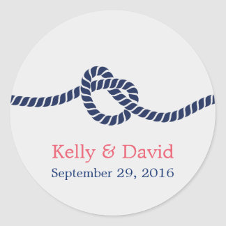 Royal Blue Tying the Knot Wedding Favor Stickers