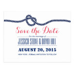 Royal Blue Tying the Knot Wedding Save the Date Postcard