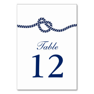 Royal Blue Tying the Knot Wedding Table Numbers Table Card