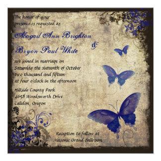 Royal Blue Vintage Butterfly Wedding Custom Invitation