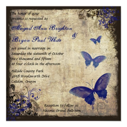 Royal Blue Vintage Butterfly Wedding Custom Invitation
