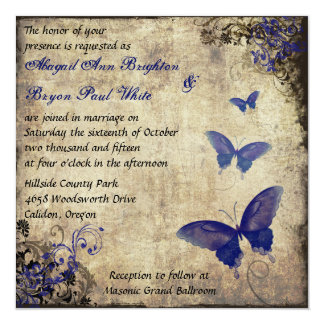 Royal Blue Vintage Butterfly Wedding Invite 2