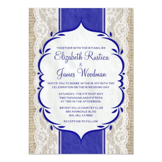 Royal Blue Vintage Linen Burlap Wedding Invitation