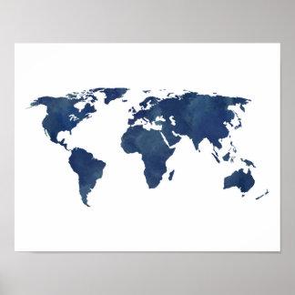 Royal Blue Watercolor World Map Poster