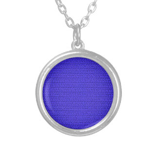 Royal Blue Weave Mesh Look Round Pendant Necklace