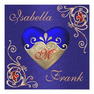 ROYAL BLUE Wedding Invitation with Gorgeous Heart