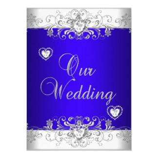 Royal blue Wedding Silver Diamond Hearts 14 Cm X 19 Cm Invitation Card