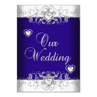 Royal Blue Wedding Silver Diamond Hearts 2 11 Cm X 16 Cm Invitation Card