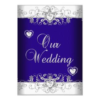 Royal Blue Wedding Silver Diamond Hearts 2 Card