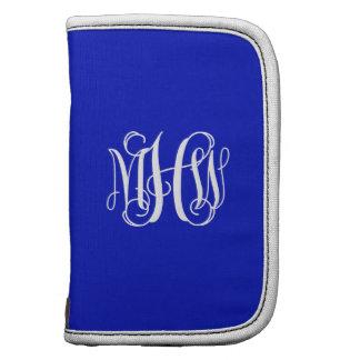 Royal Blue White 3 Initials Vine Script Monogram Planners