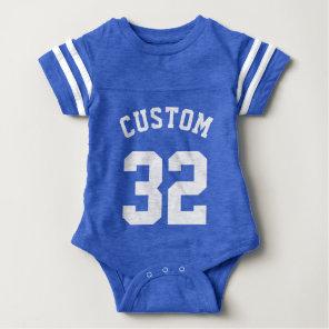 Royal Blue & White Baby   Sports Jersey Design Baby Bodysuit