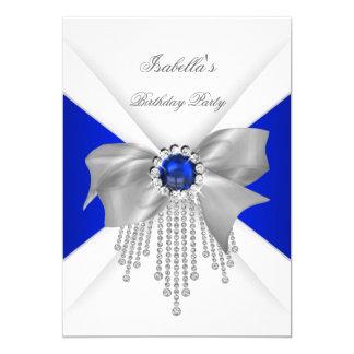 Royal Blue White Diamond Pearl Birthday Party Card
