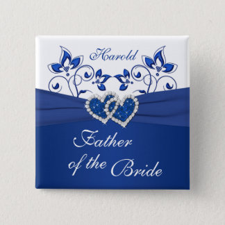 Royal Blue, White Floral Father of the Bride Pin