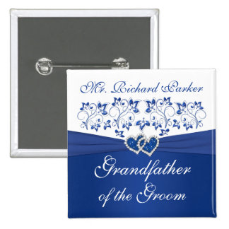 Royal Blue White Floral Grandfather of the Groom Pinback Button