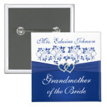 Royal Blue White Floral Grandmother of the Bride 15 Cm Square Badge