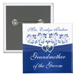 Royal Blue White Floral Grandmother of the Groom Pins