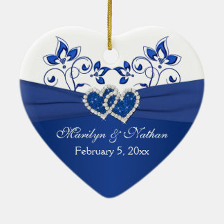Royal Blue, White Floral Hearts 1st Christmas Christmas Ornament