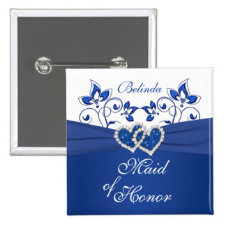 Royal Blue, White Floral Maid of Honor Pin