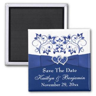 Royal Blue, White Floral Wedding Favor Magnet 2