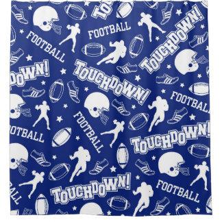 Royal Blue & White Football, Boy's Shower Curtain