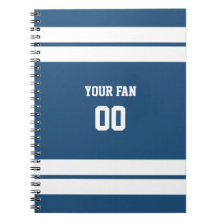 Royal Blue & White Football Team Personalized Spiral Notebook