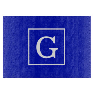 Royal Blue White Framed Initial Monogram Cutting Board