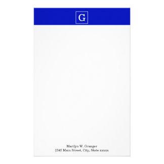 Royal Blue White Framed Initial Monogram Customized Stationery