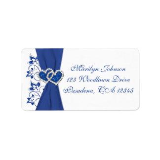 Royal Blue White Hearts Return Address Label