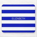 Royal Blue White Horiz Preppy Stripe Name Monogram