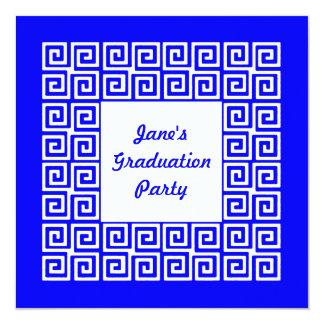 Royal blue & White Key Grad Party Invitation