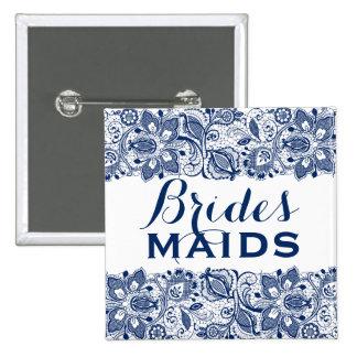 Royal Blue & White Lace Bridesmaids Button 2