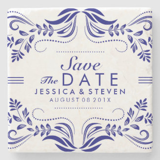 Royal Blue & White Lace Save The Date Sticker 2 Stone Beverage Coaster