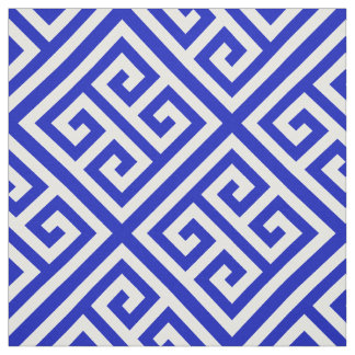 Royal Blue, White Med Greek Key Diag T Pattern #1 Fabric