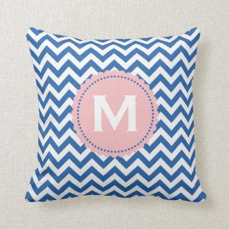 Royal Blue White Monogram Chevron Pattern Cushion