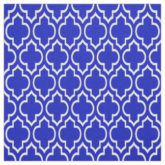 Royal Blue, White Moroccan Quatrefoil #7 Fabric