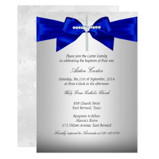 Royal Blue White Silver Cross Baptism Card
