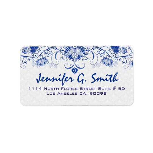 Royal Blue & White Vintage Floral Lace & Damasks Address Label
