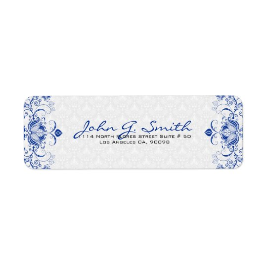 Royal Blue & White Vintage Floral Swirls &