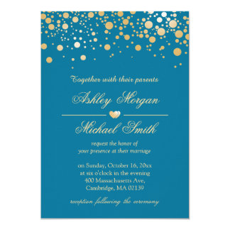 Royal Blue with Gold Confetti Polka Dots Wedding Card
