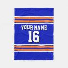 Royal Blue with Orange White Stripes Team Jersey V Fleece Blanket