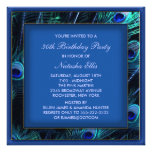 Royal Blue Womans Peacock Birthday Party Personalized Announcement
