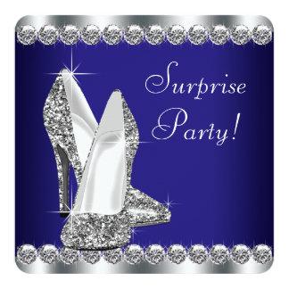 Royal Blue Womans Surprise Birthday Party Custom Invite