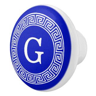 Royal Blue Wt Greek Key Rnd Frame Initial Monogram Ceramic Knob