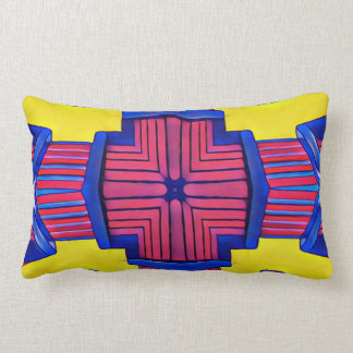 Royal Blue Yellow Magenta Modern Linear Pattern Lumbar Cushion