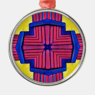 Royal Blue Yellow Magenta Modern Linear Pattern Silver-Colored Round Decoration