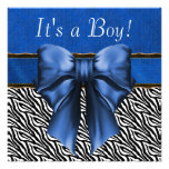 Royal Blue Zebra Baby Boy Shower Invitations