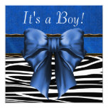 Royal Blue Zebra Baby Shower Personalized Invitations