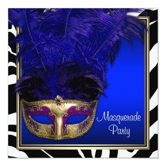 Royal Blue Zebra Masquerade Party Invitations