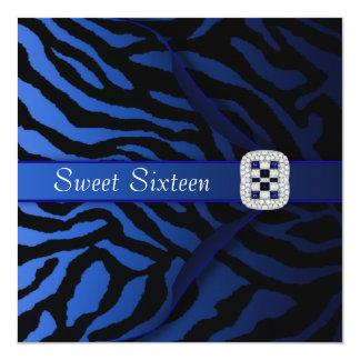 Royal Blue Zebra Sweet Sixteen Party Card