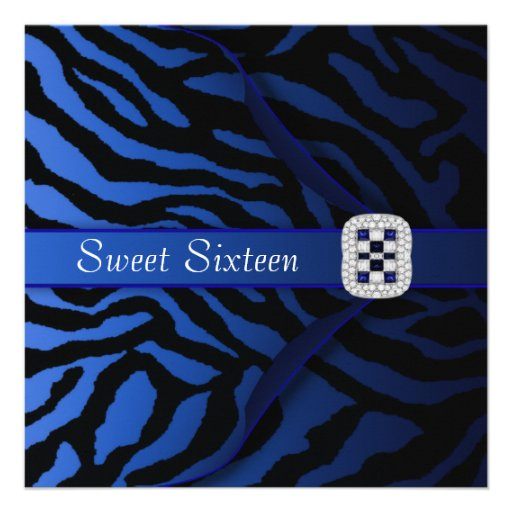 Royal Blue Zebra Sweet Sixteen Party Invitation